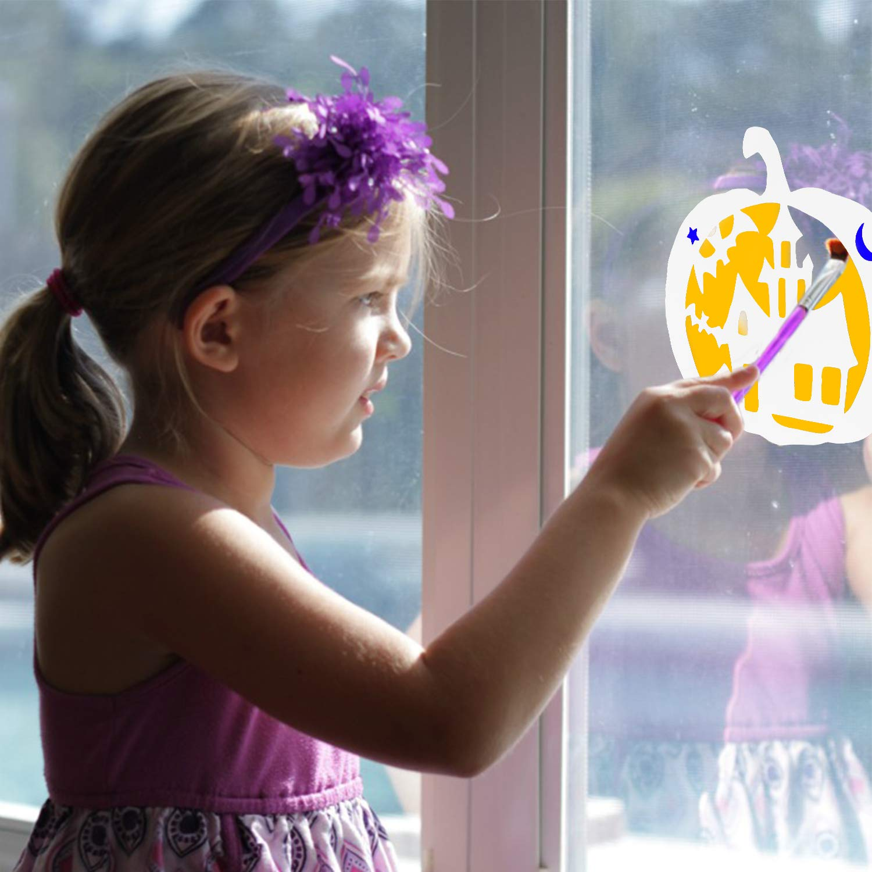 Konsait 12pcs Halloween Stencils Template DIY Decorative Pumpkins Design Mould Set,Reusable Plastic Craft for Art Drawing Painting Spraying Window Mirror Glass Door Car Body Wood Journaling Scrapbook