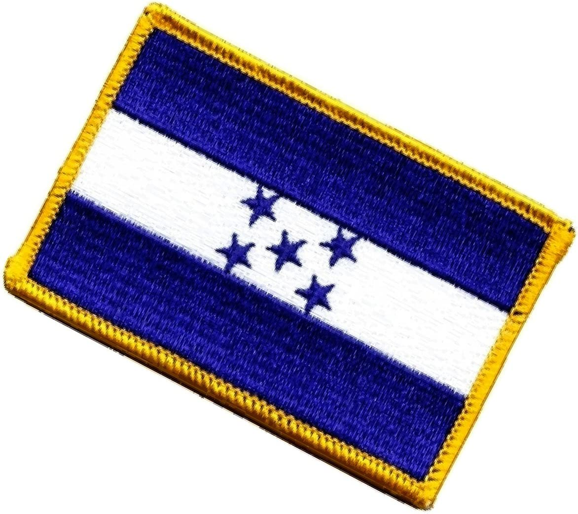 Amazon Com 2 Count Set Custom And Unique 2 25 X 3 5 Inch Rectangular Cute Simple Service Honduras Country Flag Design Iron On Embroidered Applique Patch Blue White Yellow Colors