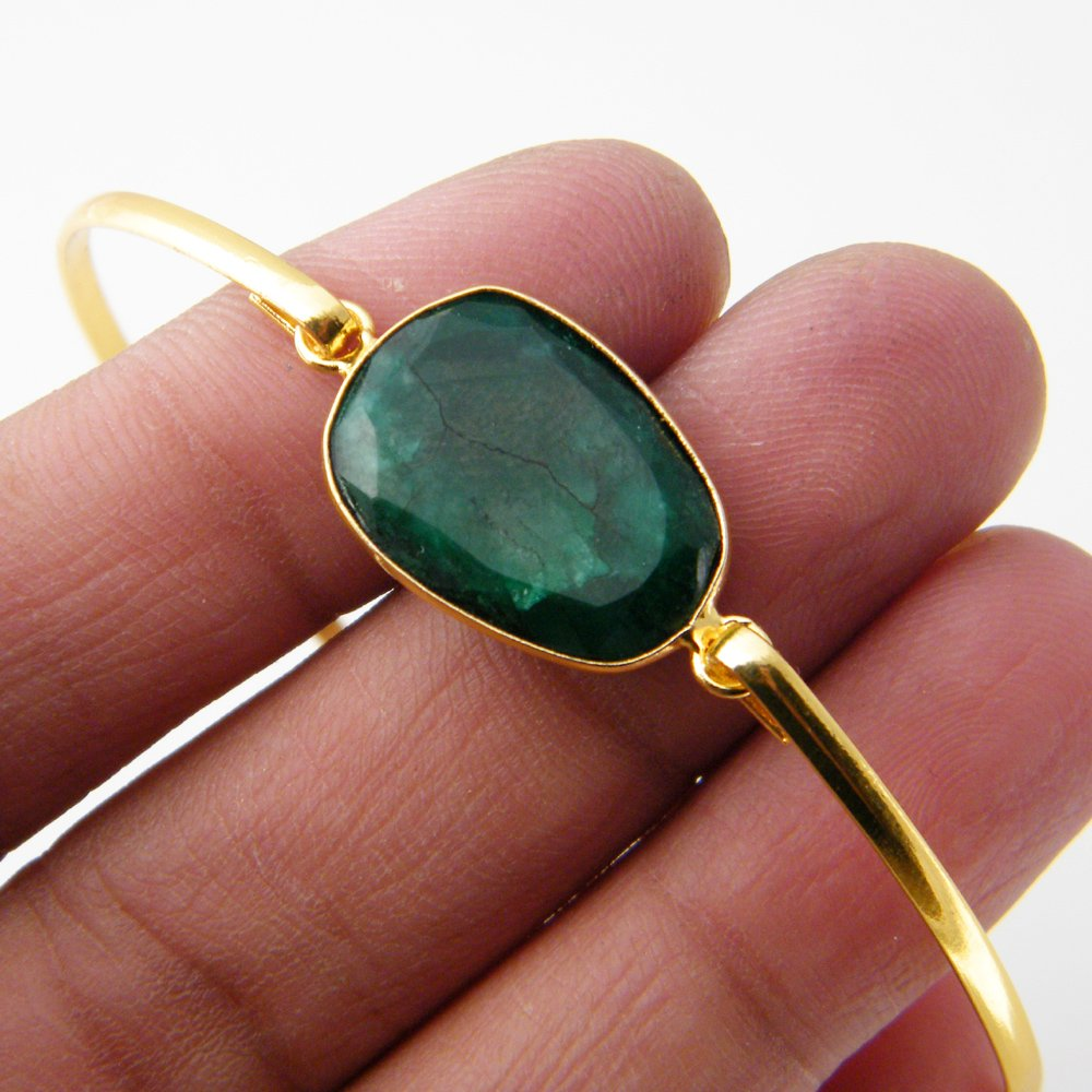 Green Emerald Beryl Bracelet AH-8114 Gold Tone Jewelry Gemstone Bracelet Jewelry Bronze Bracelet