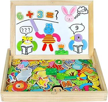 Pizarra Magnética Infantil Rompecabezas Caja Madera Pizarras 160+pcs Montessori Juguetes de Educativos Tablero de Dibujo de Doble Cara para Niños 3 4 5(Grande TAMAÑO): Amazon.es: Juguetes y juegos