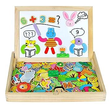 Pizarra Magnética Infantil Rompecabezas Caja Madera Pizarras 160+pcs Montessori Juguetes de Educativos Tablero de Dibujo de Doble Cara para Niños 3 4 ...