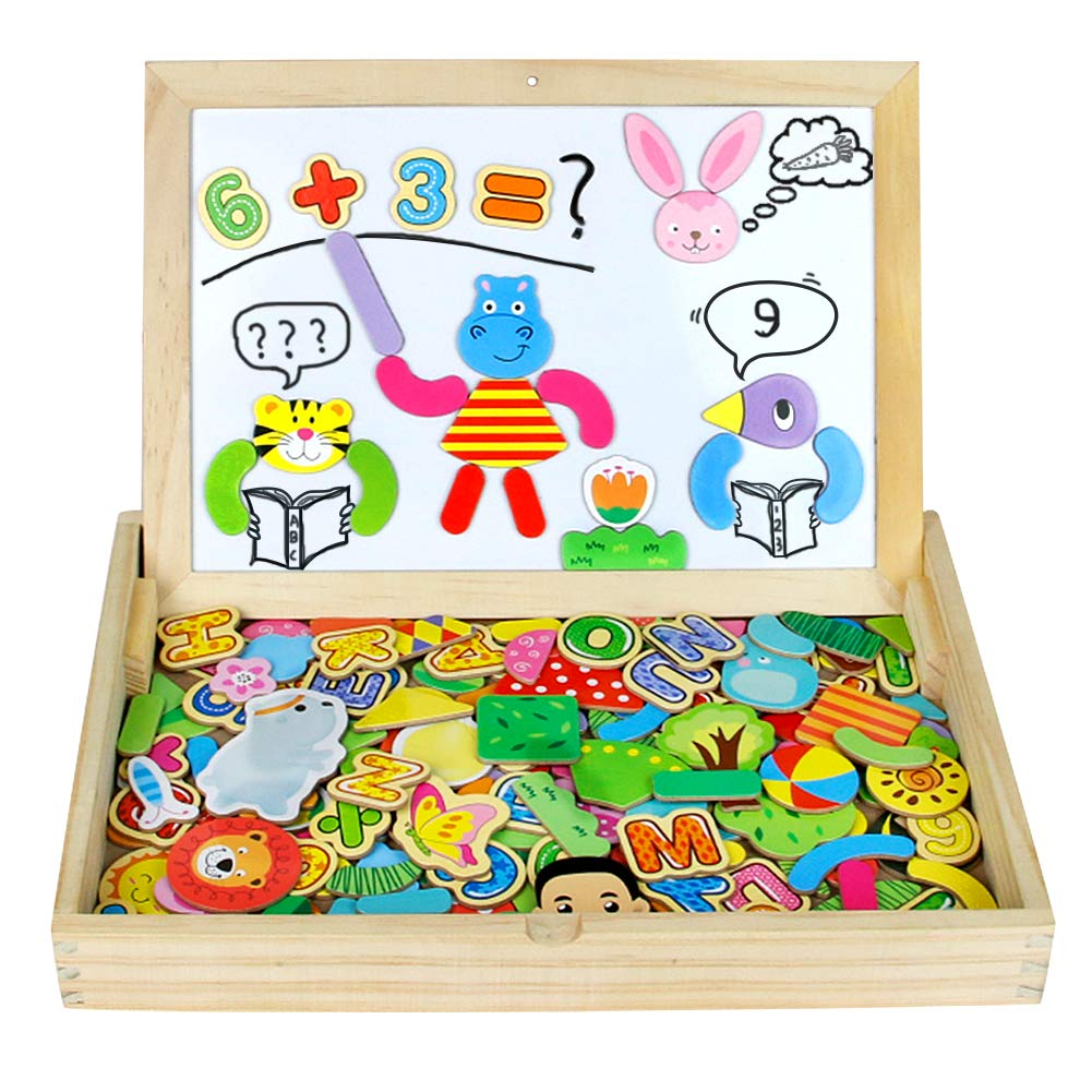 Nuheby Wooden Jigsaw Puzzle Animal Dinosaur Puzzle 175pcs Wooden Toys Double Sided Magnetic Drawing Board Popular Educational Toys Magnetic Toys for Kids 3+