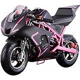 V-Fire 4-Stroke 40CC Kids Gas Pocket Bike (EPA Registered), Pink/Black