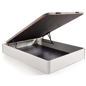 HOGAR24 ES Canapé Abatible Madera Gran Capacidad Color Blanco+ Colchón Viscoelastico Memory Fresh 3D, 135x190cm