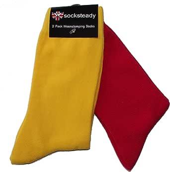 Calcetines de piel estilo rojo y amarillo (paquete de 2): Amazon.es: Ropa y accesorios