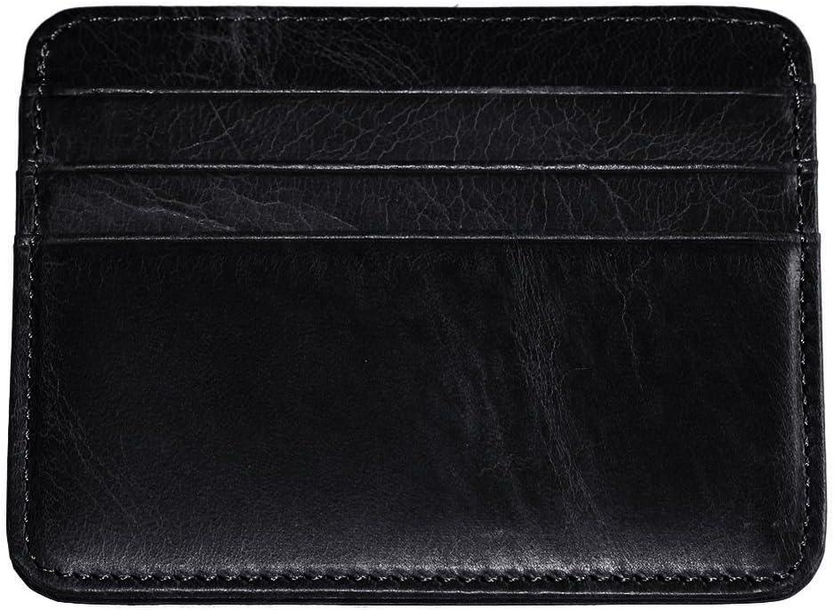 Hibate Leather Credit Card Holder Men Wallet Slim Front Pocket Case Brown