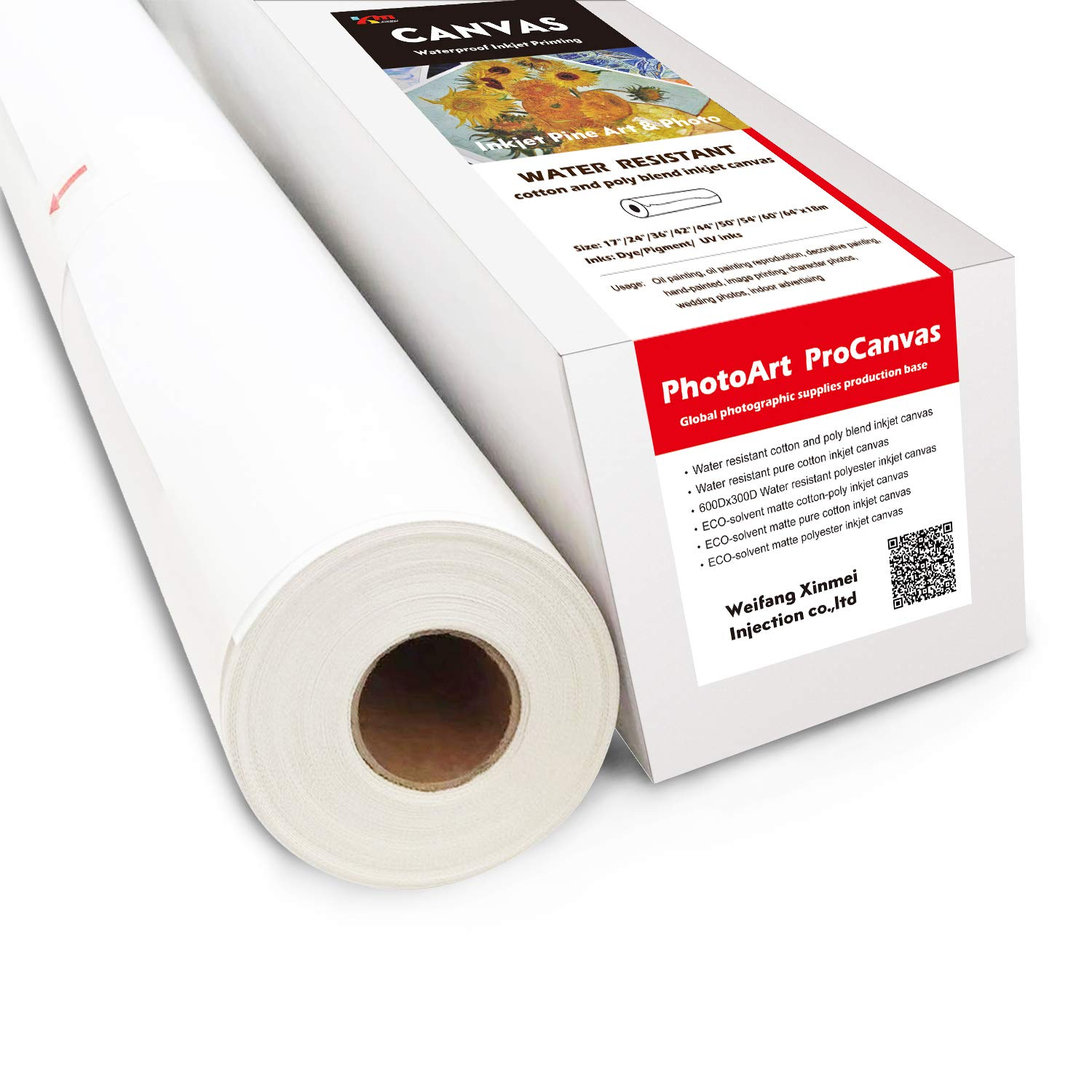 Water Resistant Cotton and Poly Blend Inkjet Canvas (50'' x 60'(Pack of 1))