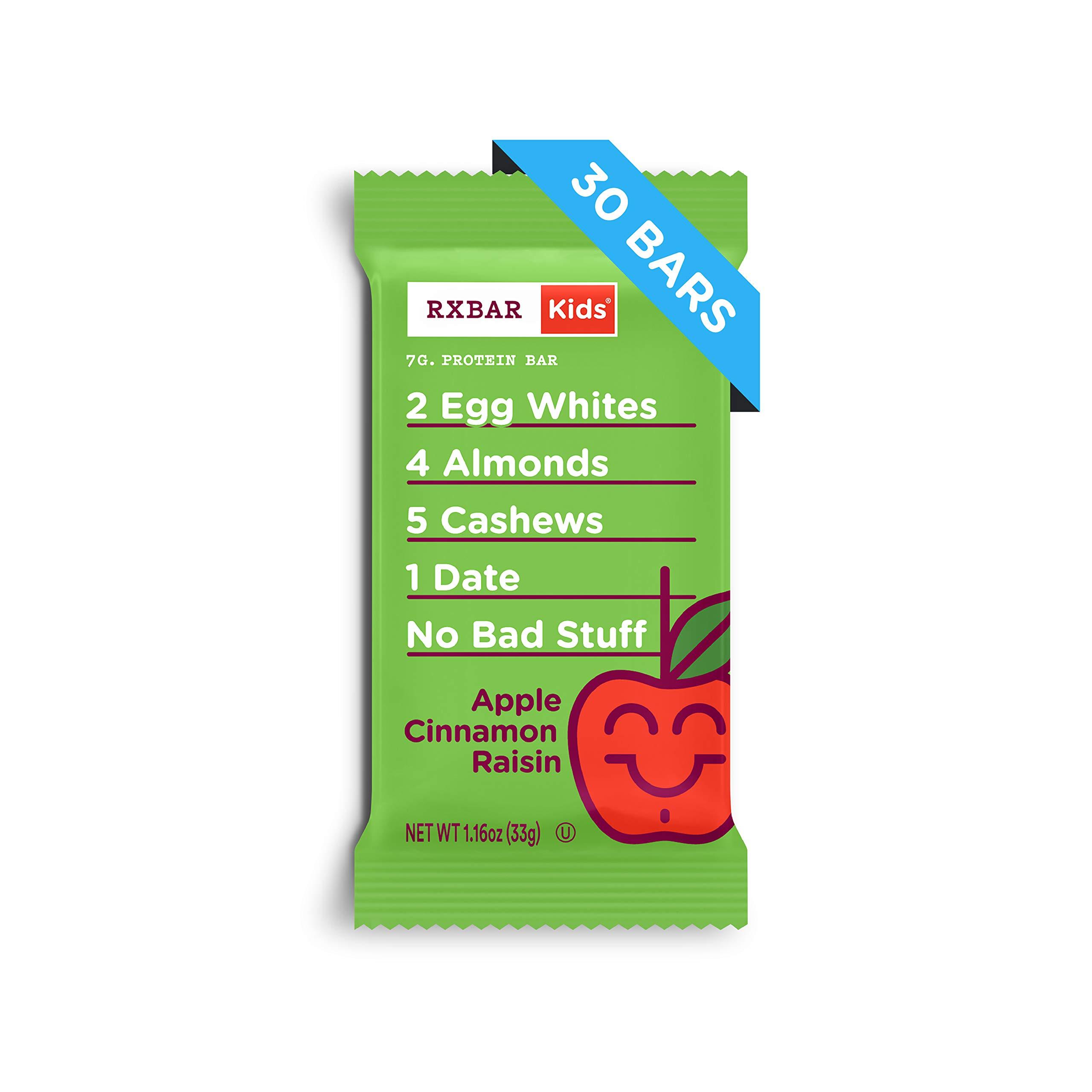 RXBAR Kids Real Food Protein Bar, Apple Cinnamon Raisin, Gluten Free, 1.16oz Bars, 30 Count