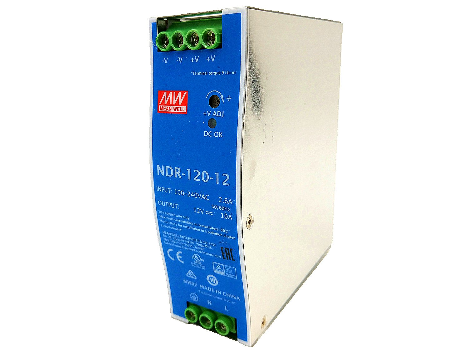MEAN WELL NDR-120-12 Single Output 120W 12V 10A Industrial DIN Rail Mounted Meanwell Power Supply NDR-120