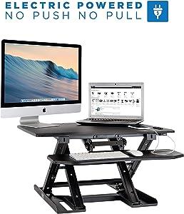 Mount-It! Electric Standing Desk Converter, Motorized Sit Stand Desk with Built in USB Port, Ergonomic Adjustable Workstation, Black (MI-7965)