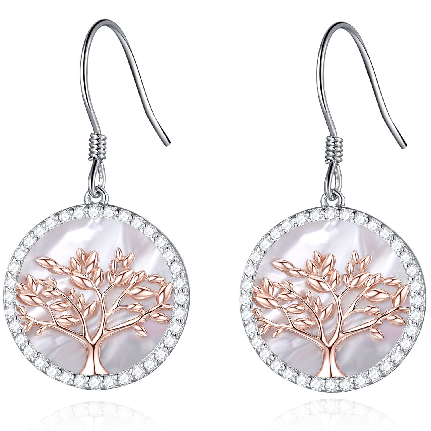 MEGACHIC Women Tree of Life Women's Sterling Silver Mother of Pearl Drop Earrings Crystals from Swarovski