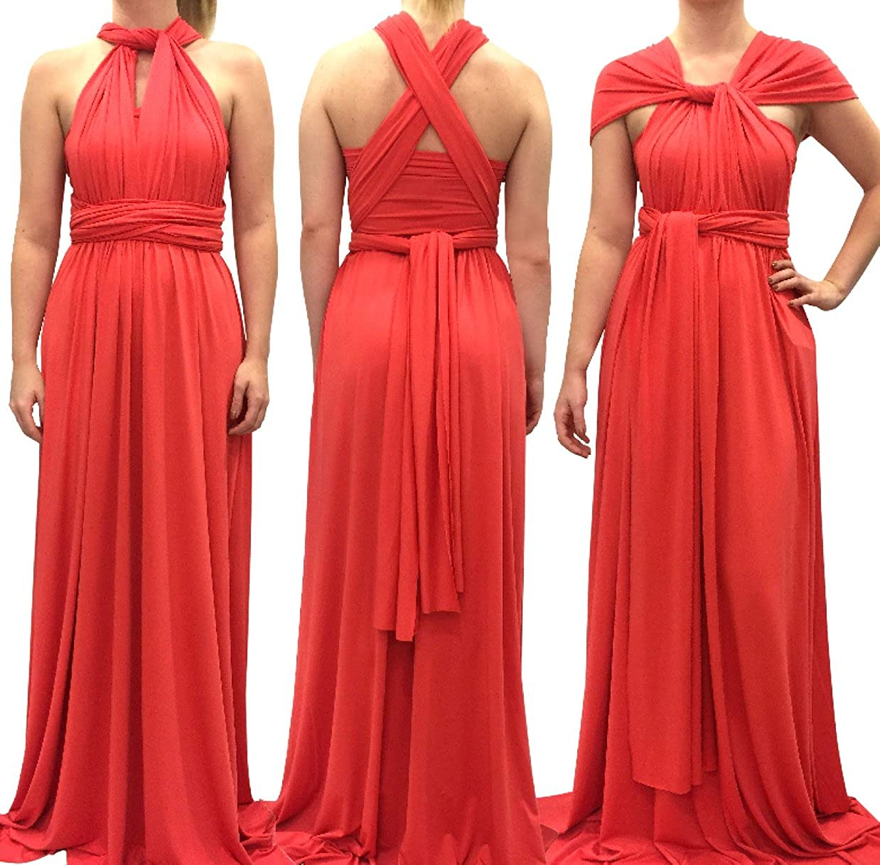 4Now Fashions Long Coral Infinity Bridesmaid Dress Convertible Multiway