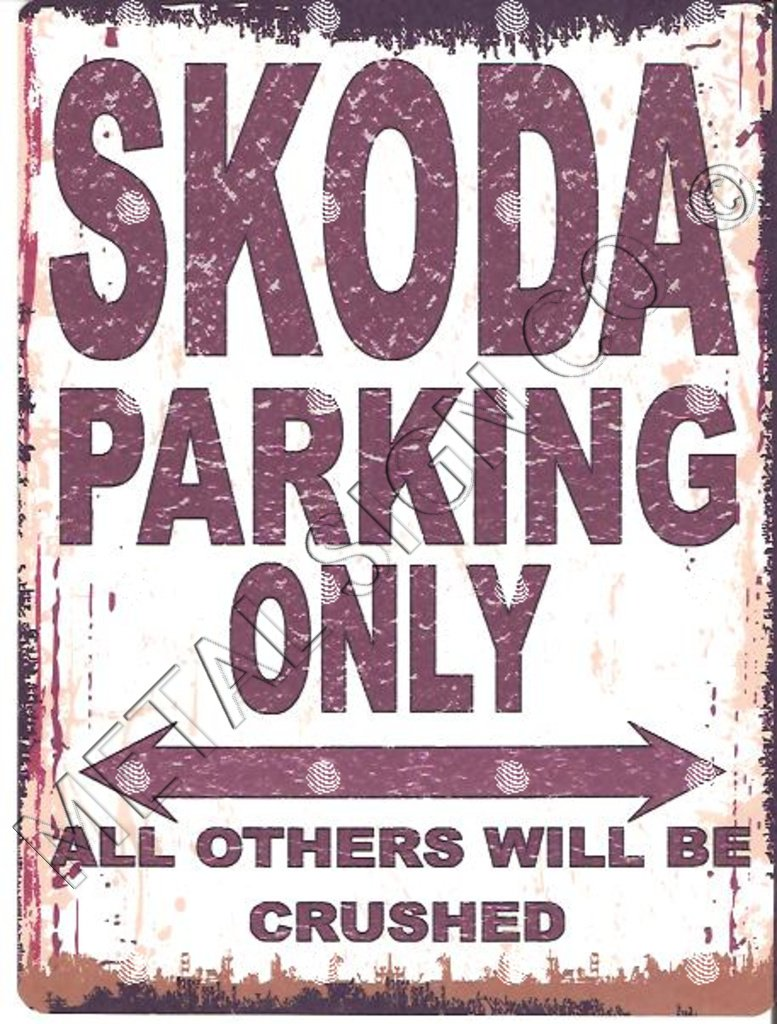 SKODA PARKING SIGN SMALL 6x8in 15x20cm RETRO VINTAGE STYLE tin wall art shed workshop garage classic cars metal METAL SIGN CO