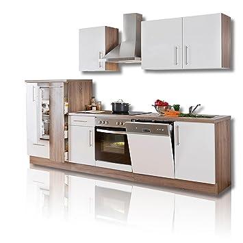Küchenblock Julia Weiß Hochglanz Trüffel Mit E Geräten Roller