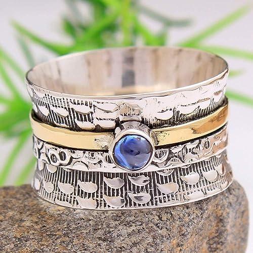 925 Sterling Silver Band /& Labradorite Gemstone Spinner Ring Handmade All size
