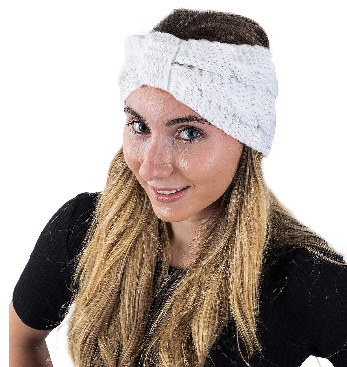 Amazon.com  Winter Headband for Women - Knit Headband - Winter Head Wrap -  Ear Warmer Headbands by CoverYourHair (White Knit)  Beauty 667e6613d86
