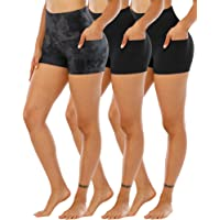 CHRLEISURE Spandex Yoga Shorts with Pockets for Women, High Waisted Workout Booty Shorts 3in