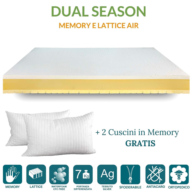 EvergreenWeb Oferta. Colchón de Matrimonio Memory 160 x 195 Dual Season, colchón látex 4 cm y 4 cm Memory Doble Capa, H 21 cm, Funda extraíble y Lavable.