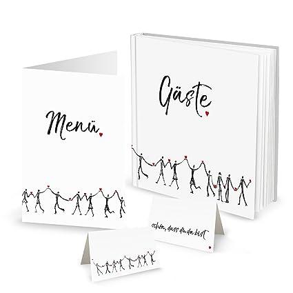 Set corazón de personas: 10 tarjetas de menú, 25 tarjetas de mesa, 1