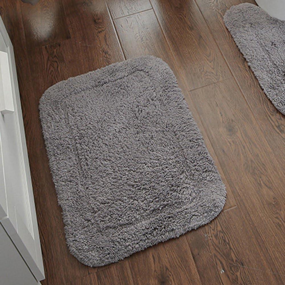 USIX Hand Tufted Cotton Towel-Like Hotel Spa Tub Shower Bath Floor Mat Washable Bath Mats Soft Absorbent Cotton Rug/Non-Rubber Back (Grey,15.5x23.5)