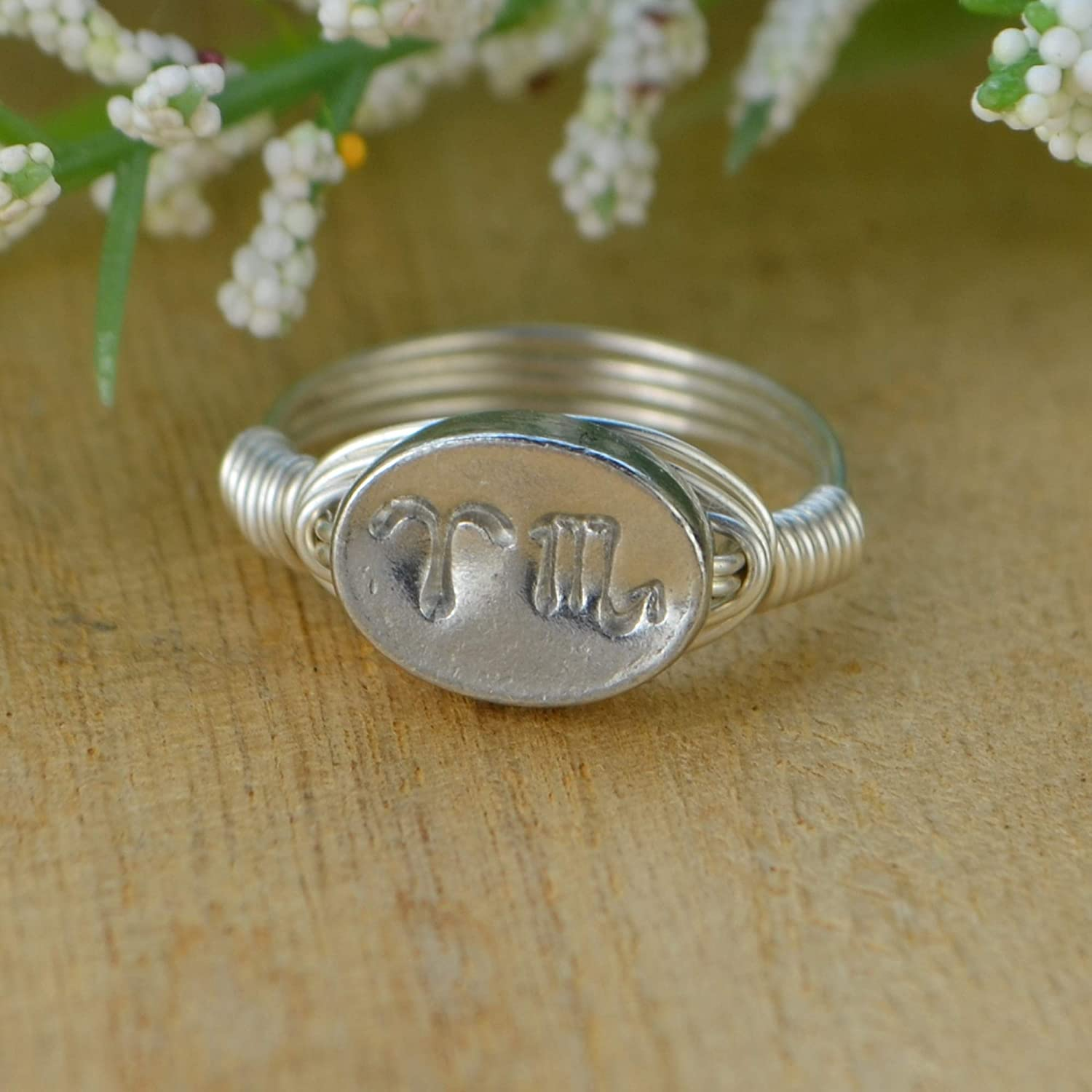 Custom made to size 4-14 Yellow or Rose Gold Filled Wire and Pewter Bead Wire Wrapped Ring Any Two Zodiac Signs Sterling Silver
