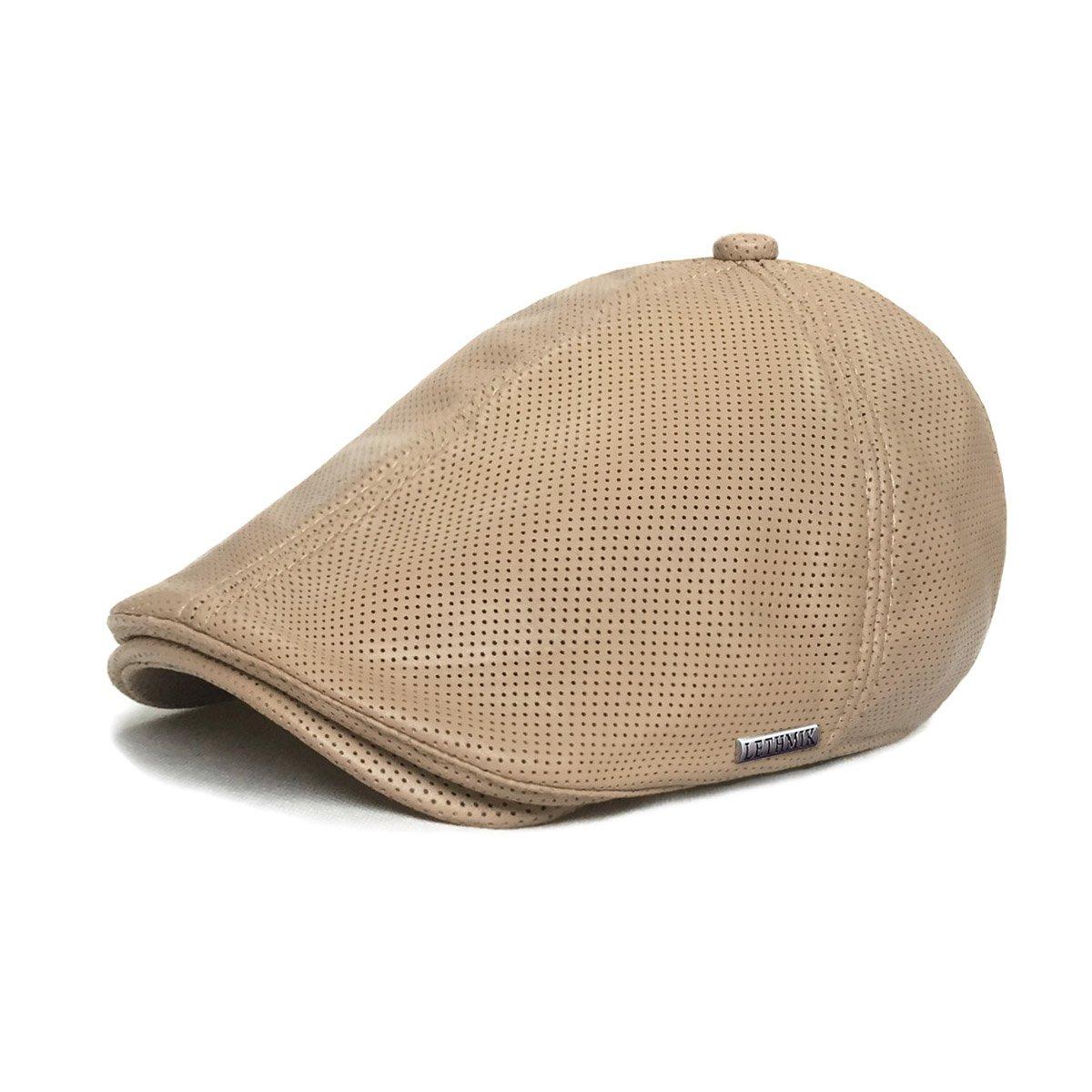 b4647c7c840 LETHMIK Vintage Flat Hat Ivy Irish Hats Gatsby Newsboy Cap Cabbie Hat  Stretch Beige Holes at Amazon Men s Clothing store