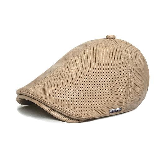 281fc808ea2 LETHMIK Vintage Flat Hat Ivy Irish Hats Gatsby Newsboy Cap Cabbie Hat  Stretch Beige Holes