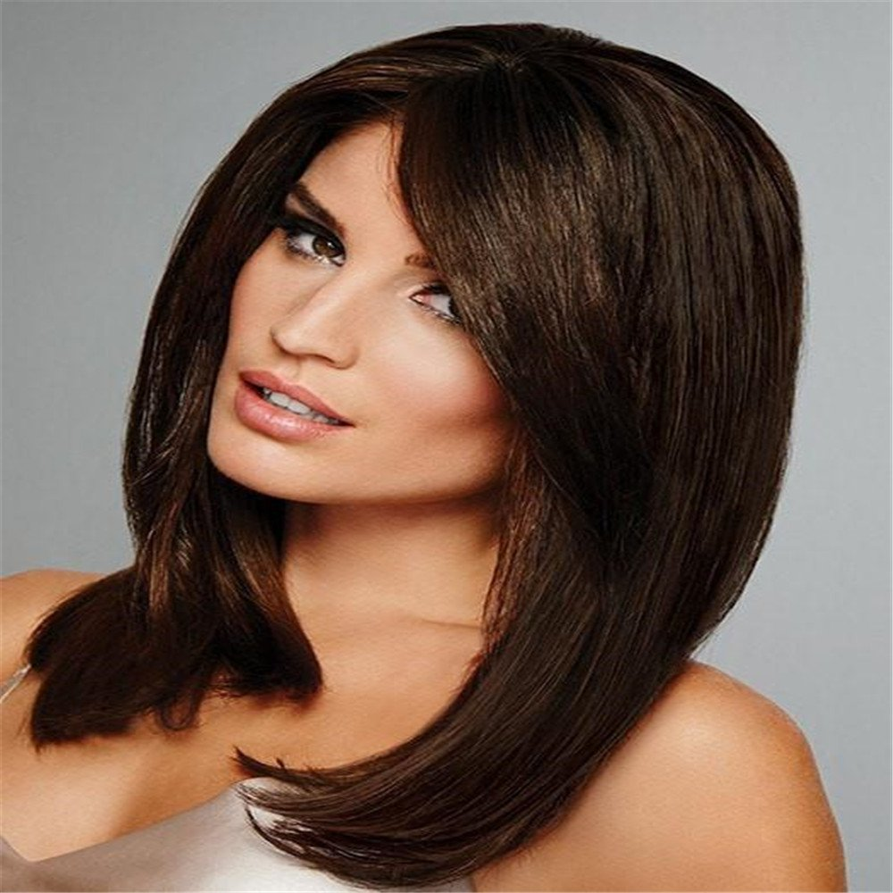 Amazon.com : Luxurious Silk Base Full Lace Wigs Straight Brazilian Remy Human Hair For Black Women Natural Color 2# FULL LACE HUMAN HAIR 100% (10 inch) : ...