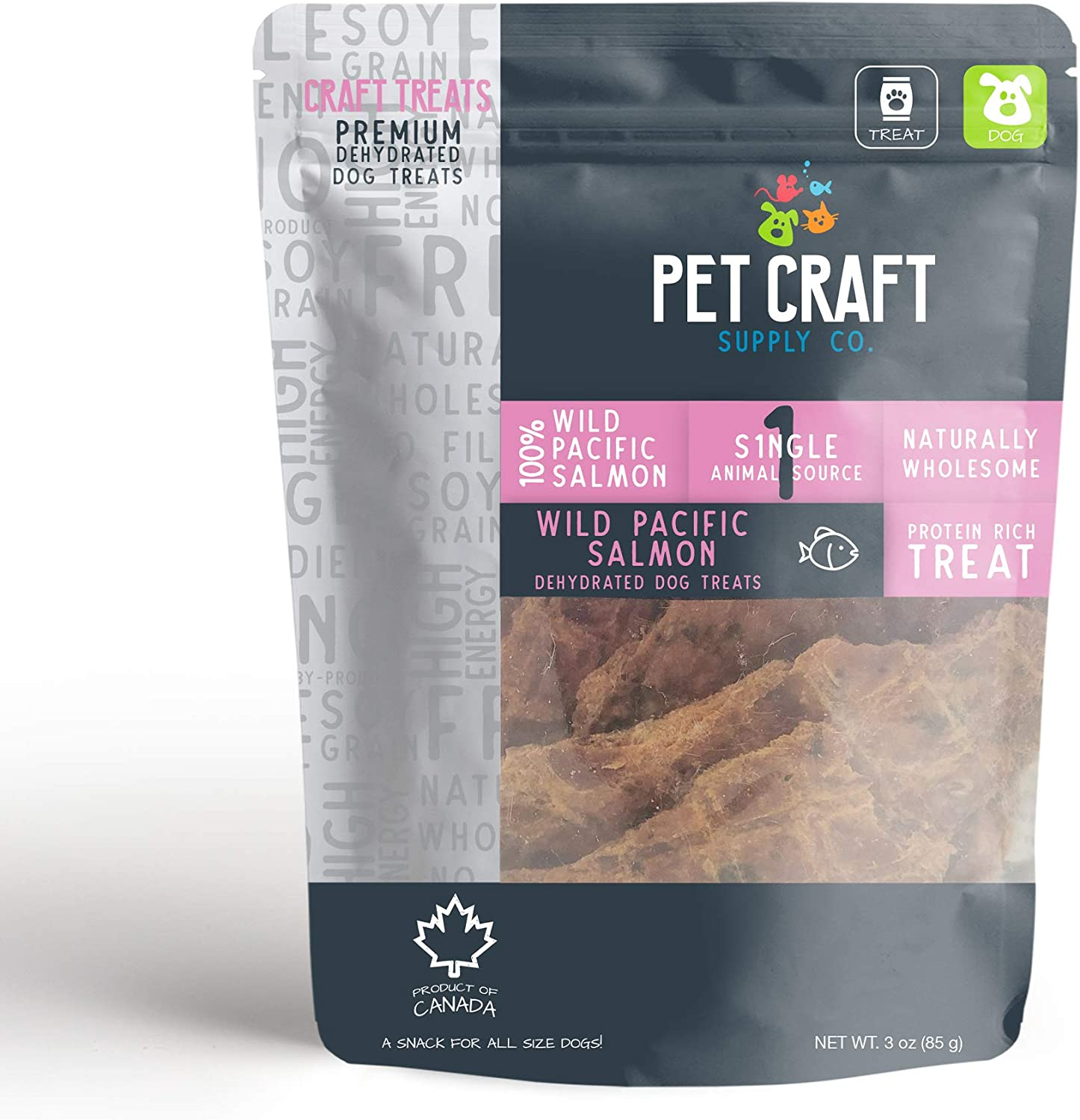 Pet Craft Supply Dehydrated Pure Wild Pacific Salmon Natural Dog Treats a Great Alternative to Freeze Dried Healthy Dog Treats and Cat Treats
