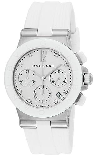 5b87daefc03a [ブルガリ]BVLGARI 腕時計 ディアゴノ ホワイト文字盤 ラバーベルト 自動巻 クロノグラフ ダイヤモンド