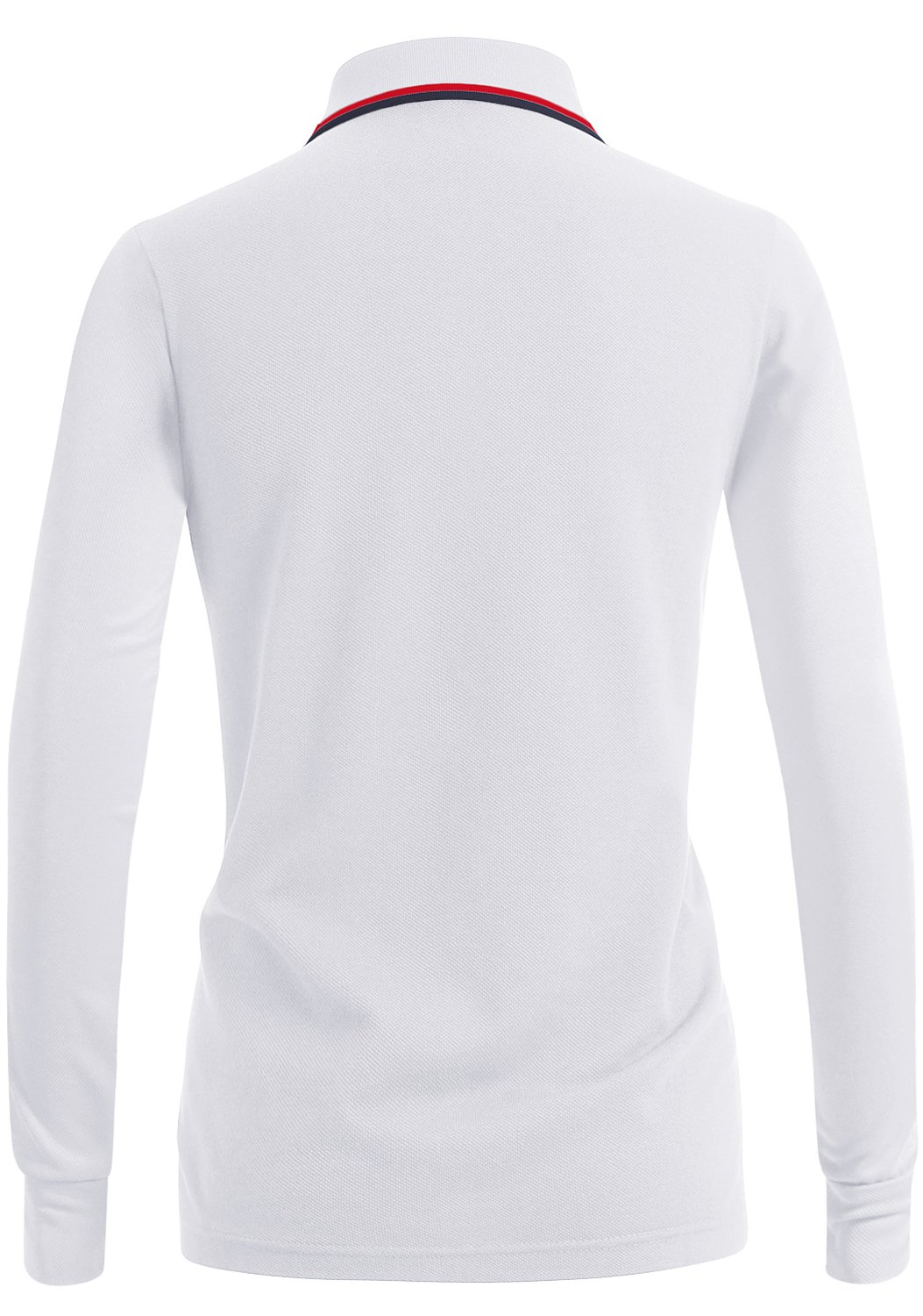 CLOVERY Women's Classic Fit Long Sleeve PK Polo Shirts White US XXL/Tag XXXL by CLOVERY (Image #3)