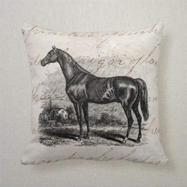 BYRON HOYLE - Funda de almohada cuadrada de lino con cremallera, diseño de caballo de raza retro, diseño de caballos de pura sangre