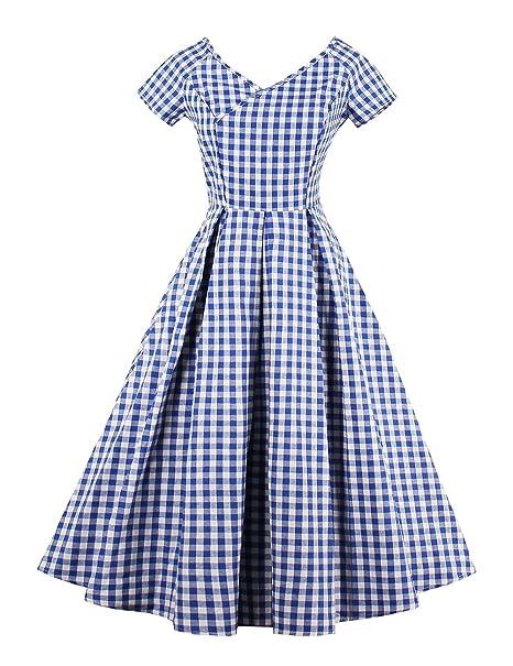 Vkstar Damen A Linie Kleid Kariert Blau Blau Gr Xxxxl Blau