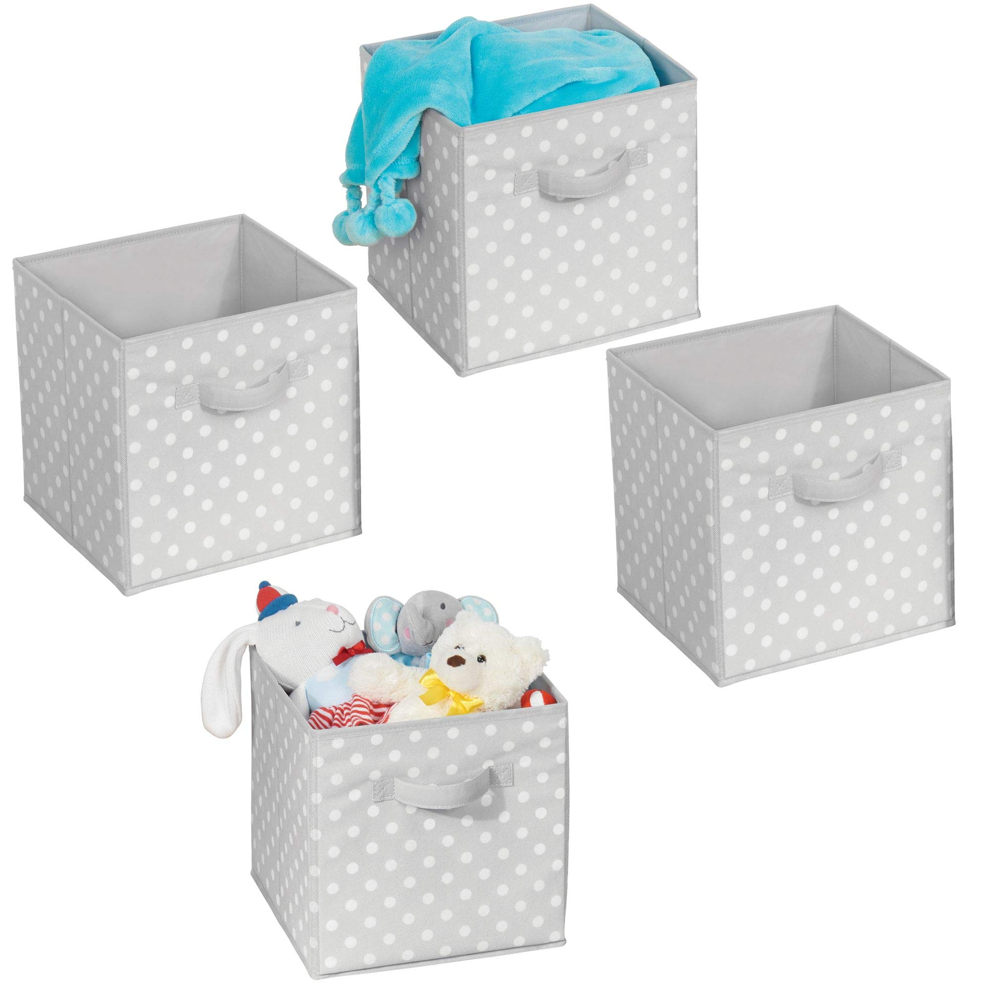 mDesign Soft Fabric Closet Organizer Bin Box - Front Handle - Cube Storage for Child/Kids Room, Nursery, Toy Room, Furniture Organization - 10.5'' high - 4 Pack, Gray with White Polka Dots by mDesign