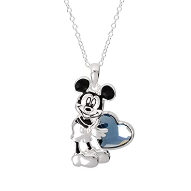 b3f70385c Disney Mickey Mouse Jewelry for Women and Girls, Silver Plated Mickey  Pendant with Crystal Heart