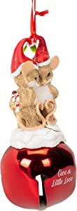 Give A Little Love Mice In Santa Hat 6.5 Inch Resin Stone Christmas Figurine