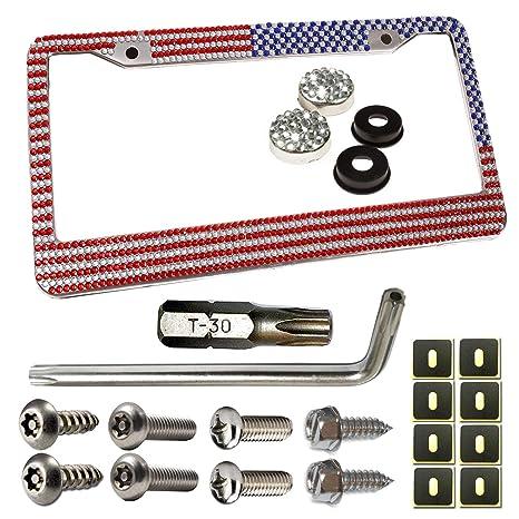 4pcs Diamond Car License Plate Frame Security Screw Caps Covers Kit Silver USA