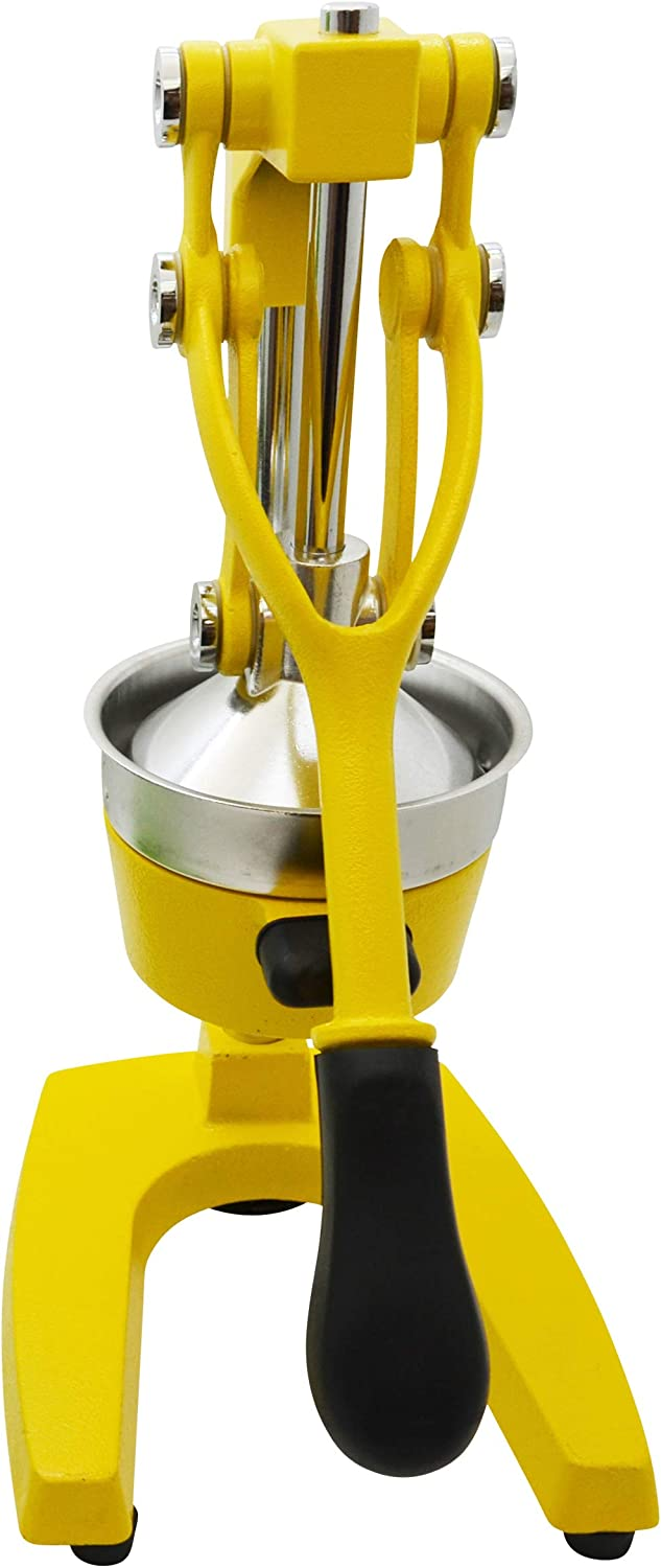 IMUSA USA J100-00109 Heavy Duty Cast Iron Citrus Juicer, Large, Yellow