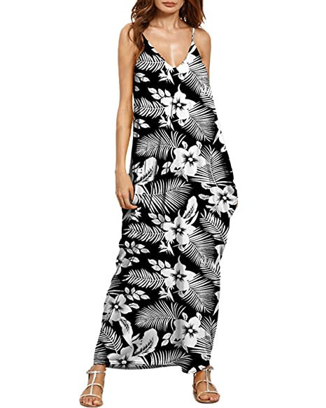 d37aa7d06e Image Unavailable. Image not available for. Color  Auxo Women Boho Maxi  Dress Floral Sundress Printed V Neck Strappy ...