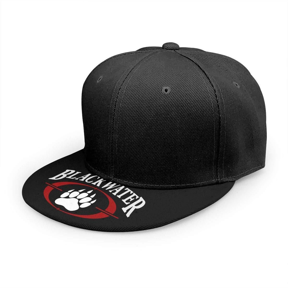 Adjustable Women Men Blackwater-Logo Print Baseball Cap Flat Brim Cap Hats Hip Hop Snapback Sun Hat Boys Girls Black by Apolonia