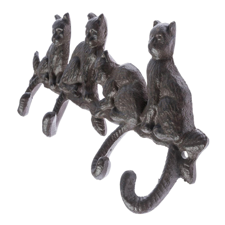 Perchero de hierro fundido con diseño de gatos de Homescapes, para montar en la pared, estilo antiguo, los ganchos son las colas de los gatos: Amazon.es: ...