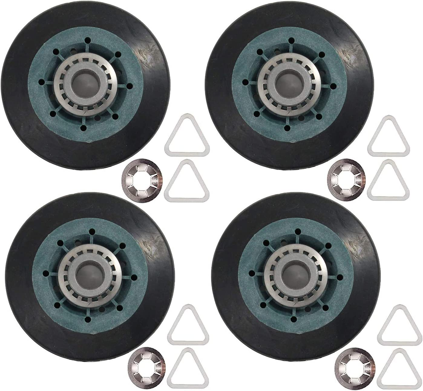 W10314173 Dryer Drum Support Roller Kit for Whirlpool, Kenmore & Maytag - Replaces 8536974 WPW10314173 AP6019303 8536973 W10314171 PS11752609 - PACK OF 4