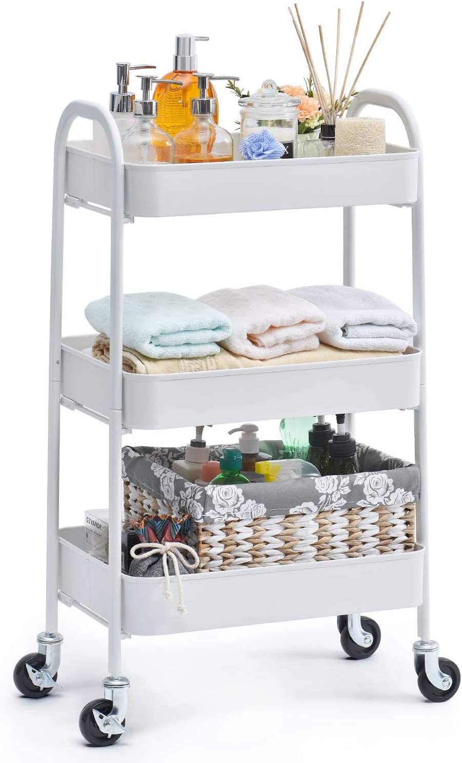 TOOLF 3 Tier Rolling Cart, No Screw Metal Utility Cart, Easy Assemble Utility Serving Cart, Sturdy Storage Trolley with Handles, Locking Wheels, for Classroom Office Home Bedroom Bathroom, White