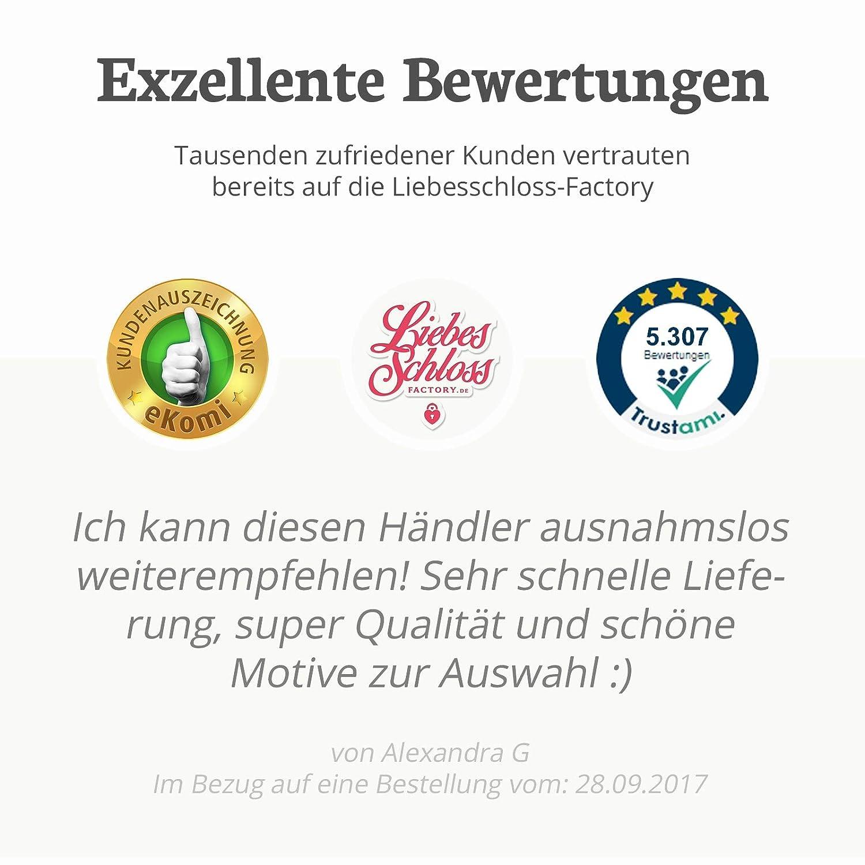 LIEBESSCHLOSS-FACTORY Liebesschloss Schwarz mit Gravur Jetzt graviertes Schloss selbst gestalten! gratis Geschenk-Box uvm