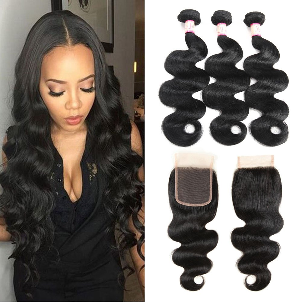 Ms Taj 7A Peruvian Body Wave with Closure, 4x4inch Free Part Lace Closure with 3 Bundles Body Wave Hair Unprocessed Virgin Human Hair Extensions Natural Black (14 16 18+12)