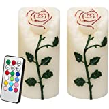Rose Flower Multi Color Flameless Candles with Remote Timer, Real Wax Battery Operated Led Pillar Candles for Valentine's Day Decoration & Festival Parties, Flickering Color Changing Flame, Set of 2