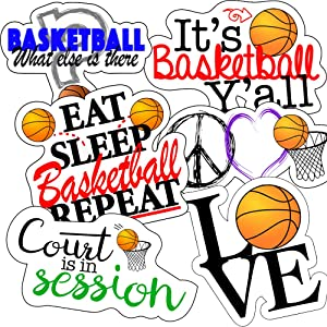 Basketball Stickers, Perfect Basketball Stickers for Water Bottles, Anywhere You Need Basketball Decor, Laptop Stickers, Basketball Wall Decal, Waterproof Durable 100% Vinyl