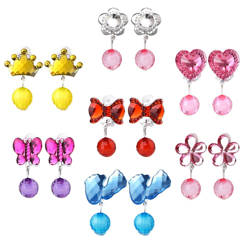Coopay 7 Pairs Princess Clip on Earrings Set Crystal Girls Play Earrings and 7 Pairs Extra Earring Pad in Pink Box