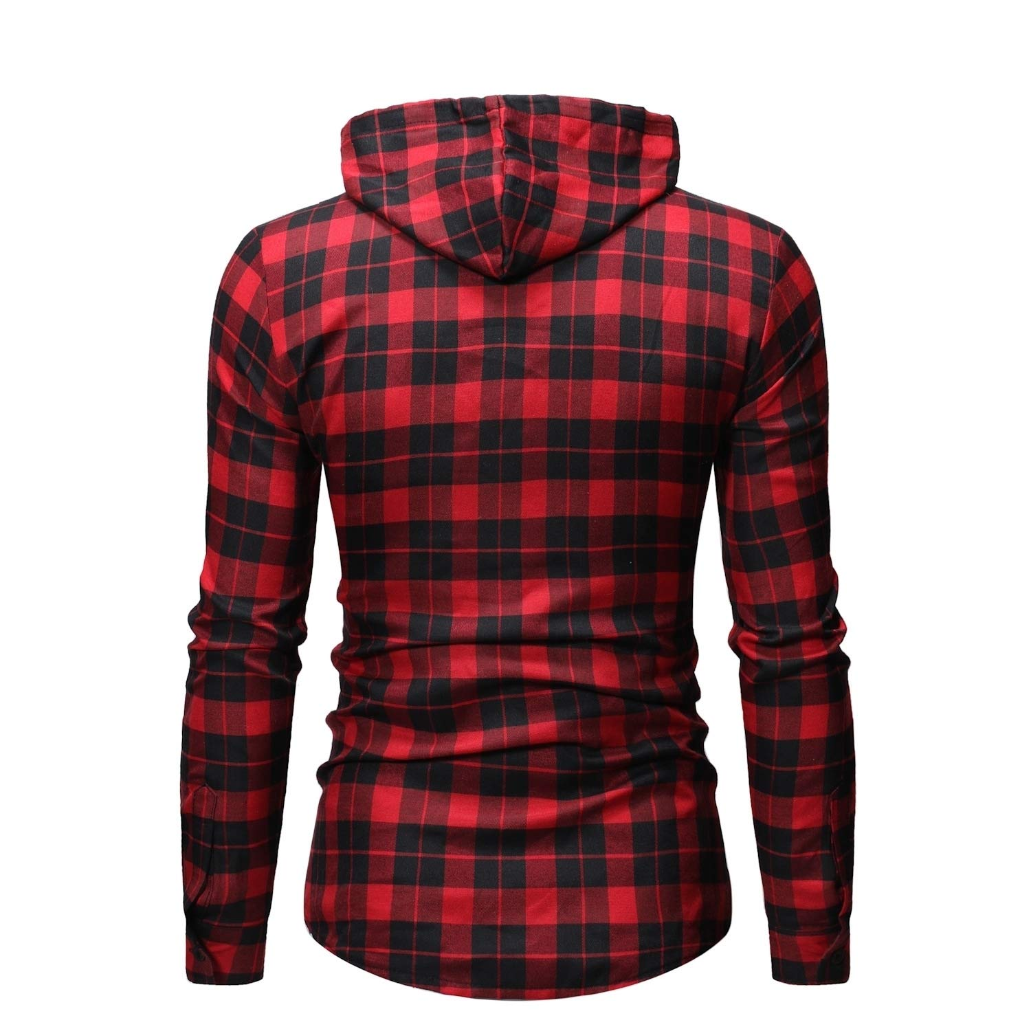 Coolred-Men Plaid Classics Hooded Plus Size Lounge Tee Polo Shirt