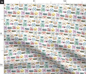 Spoonflower Fabric - Watercolor Small Scale Camera Photography Photo Printed on Petal Signature Cotton Fabric by The Yard - Sewing Quilting Apparel Crafts Decor